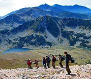 Hiking trek in the Pirin and Rila mountains; guided hiking trek in Bulgaria