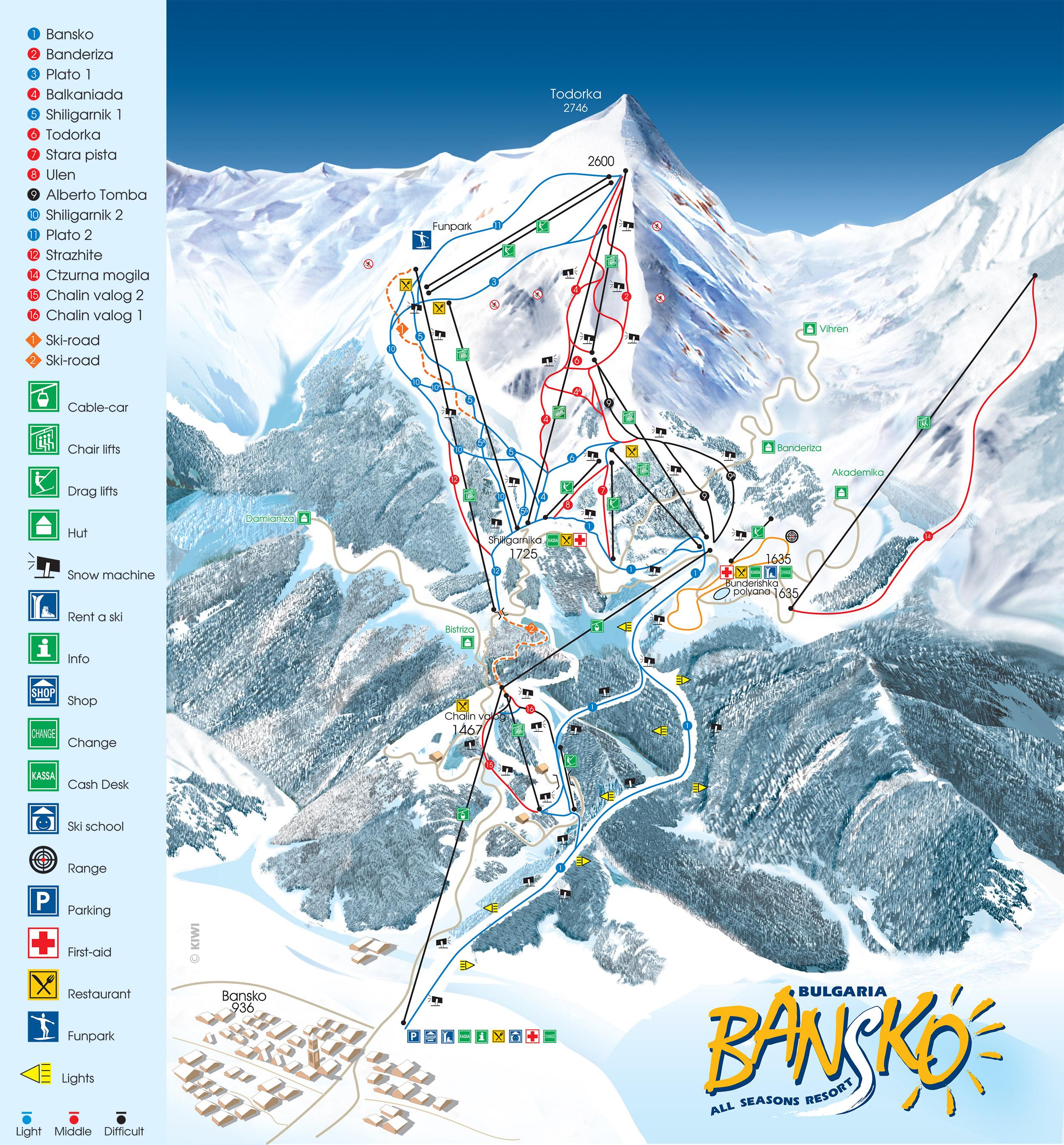 map of bansko ski slopes